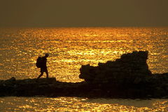 Walk at sunset. Croatia. Sunset in Croatia. The old wharf Royalty Free Stock Photos