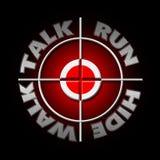 Walk talk run hide. Stock Photos
