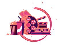 Walk to cinema with soda and popcorn. Cinematograph industry, vector illustration Royalty Free Stock Photo