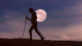 Walk to full moon royalty free stock photography