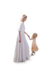 Walk to paradise. Happy mother  with little girl Stock Photo