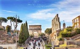 Walk To Roman Forum Columns Titus Arch Rome Italy Stock Photography