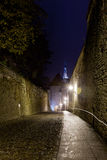 Walk to Toompea. Luhike street leads to the old town of Toompea in Tallinn Estonia on a wet dark night Stock Photography