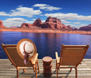 Walk to the tourist boat on Lake Powell Stock Photography
