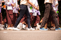 Walk together. Chiang Mai, Thailand - September 12, 2015: student from Chiang Mai university (CMU)   walk to Doi suthep in Freshmen Welcoming Ceremony of CMU at Stock Images