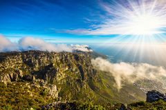 Walk on top of Table Mountain at sunset Stock Image
