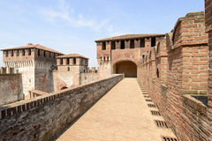 Walk on top of the walls, Soncino Castle. View of north side of main inner court in the ancient Sforzesco Castle from the walk set on top of the castle walls royalty free stock photo