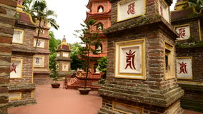 Walk Through of the Tran Quoc Pagoda in Hanoi Vietnam stock video footage