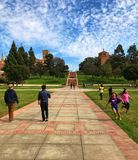 A walk in UCLA. Student life at the UCLA campus Stock Photography