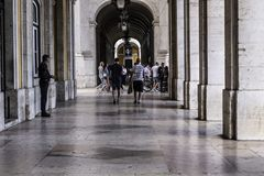 Walk under the arcades in Lisbon. Portugal Royalty Free Stock Photography