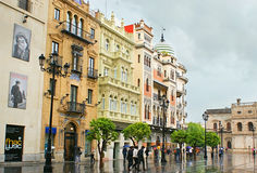 THe walk under the rain Royalty Free Stock Photo