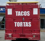 Tacos and Tortas Food Truck. A walk up food truck that serves Mexican and Latino food fare stock photos