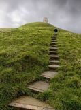 Walk Up Glastonbury Tor Stock Image
