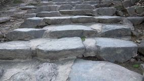 Walk Up Stone Stairs. Ascend Ancient Rocky Staircase. Point of View stock video