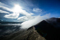 Walk on volcano crater. Walk on Bromo volcano crater of Java island , Indonesia stock images