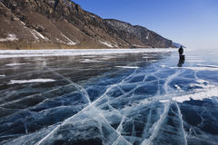 Walk on water. Walk on Baikal surface in bright winter day Stock Photography