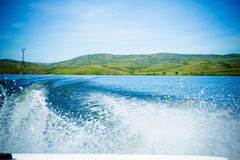 Walk on water on the boat. Royalty Free Stock Images