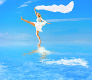 Walk on water and fly like a wind stock images
