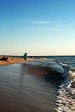 Walk the waterfront. The sea beach Royalty Free Stock Photos