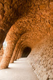 Walk way by Antoni Gaudi in park Guell Stock Image