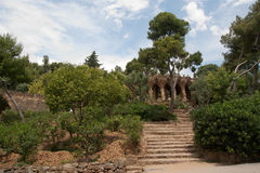 Walk way by Antoni Gaudi in park Guell Stock Photo