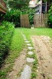 Walk way and bamboo fence in garden,. Walk way and bamboo fence in garden Royalty Free Stock Images