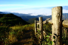 Walk way. With blue sky and fog at Chaing Mai,Thailand Stock Photos