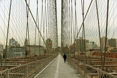 Walk way on brooklyn bridge Royalty Free Stock Photography