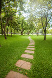 Walk way in the garden in vertical view Royalty Free Stock Images