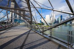 Walk way on The Helix bridge in Singapore Stock Photo
