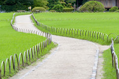 Walk way in Korakuen, Japanese garden. In Okayama, Japan Stock Photo