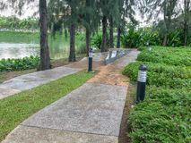 Walk way path in the garden. At thailand Stock Photos