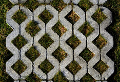 Walk way surface of concrete blocks Royalty Free Stock Photography