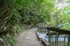 The walk way in taroko at taiwan.  royalty free stock photo