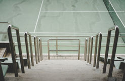 Walk way on tennis stadium. Stair down Stock Photo