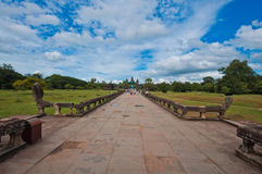 Walk way to ancient buddhist khmer temple Stock Image