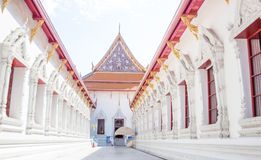 Walk way to buddism royal Thailand temple. White walk way to buddism royal Thailand temple landmark in Bangkok Royalty Free Stock Images