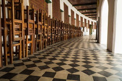 Walk way to class room. This is walk way to class room in thai temple school Stock Photography