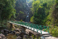 Walk way to Jok-kra-Ding waterfall in the forest Stock Photo