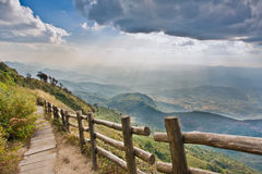 Walk way to viewpoint on the mountain Royalty Free Stock Photos