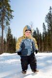 Walk in winter wood . boy Royalty Free Stock Photo