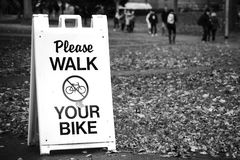 Walk your bike sign Stock Photo