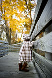 The walk10. Two year old walking on a path with beautiful fall colors in the background Stock Image