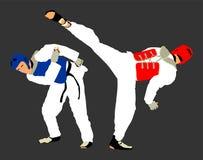 Walka między dwa Taekwondo wojownikami Samoobrona, defence sztuka ćwiczy pojęcie ilustracja wektor