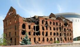 walka zniszczonego młyna panoramy stalingrad muzeum vo fotografia royalty free