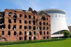 walka zniszczonego młyna panoramy stalingrad Volgograd muzeum obraz stock