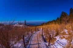 He walked up to the seoraksan mountains. In Winter,Korea Royalty Free Stock Photo