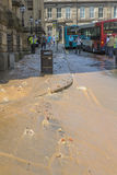 Burst Water Main Pipe Liverpool City Centre Stock Photos