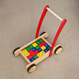 Walker block wagon baby toy Royalty Free Stock Photography