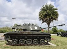 Walker Bulldog Tank. This is a Summer picture of a Korean War U.S. Army M41A3 Walker Bulldog Tank on display at the Brevard County Veteran`s Memorial Park Royalty Free Stock Photography